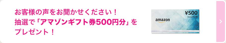 お客様の声をお聞かせください!抽選で「アマゾンギフト券500円分」をプレゼント!